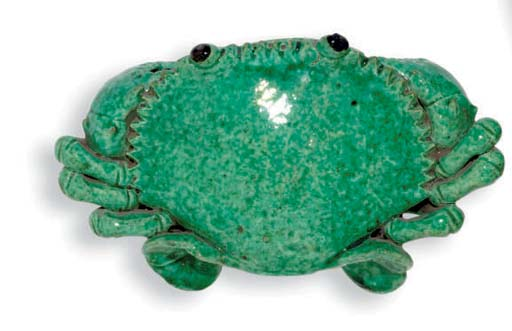 A CHINESE CERAMIC CRAB WALL PO