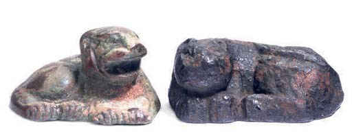 TWO CHINESE BRONZE TIGER-FORM