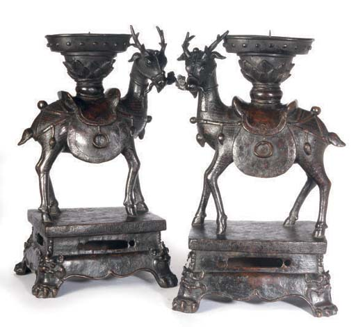 A PAIR OF CHINESE BRONZE DEER-
