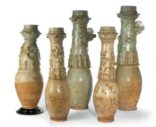 FIVE CHINESE POTTERY FUNERARY