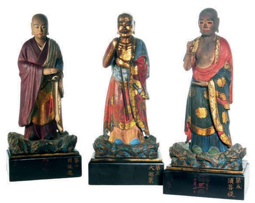 THREE JAPANESE POLYCHROME WOOD