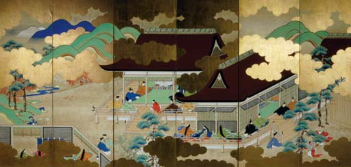 A JAPANESE PAPER SCREEN PAINTE