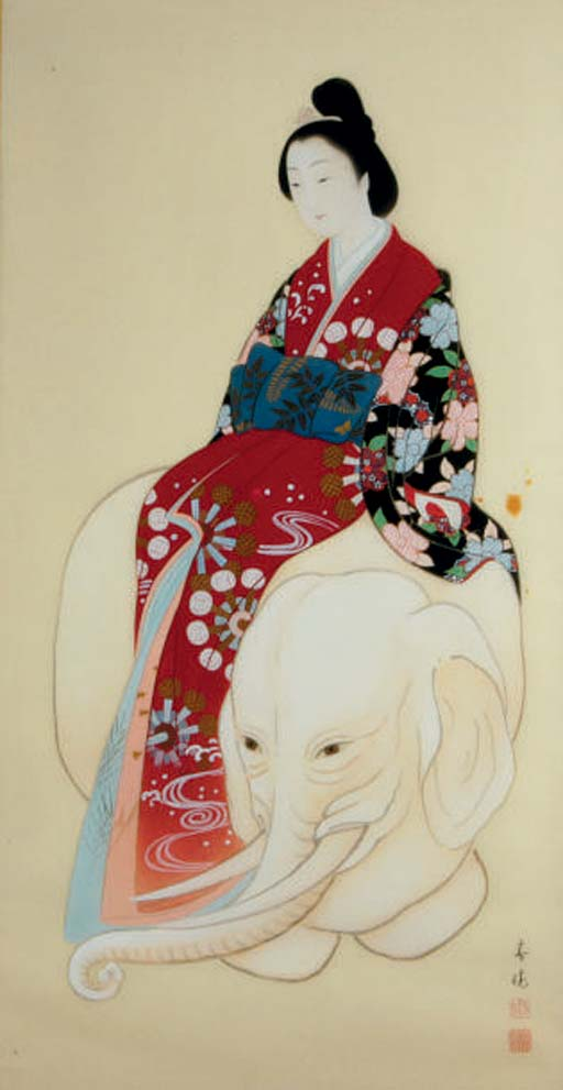 A JAPANESE PAINTING ON SILK OF