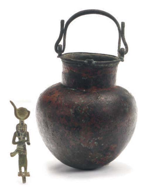 TWO EGYPTIAN BRONZE OBJECTS,