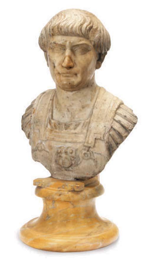 A ROMAN STYLE MARBLE HEAD OF E