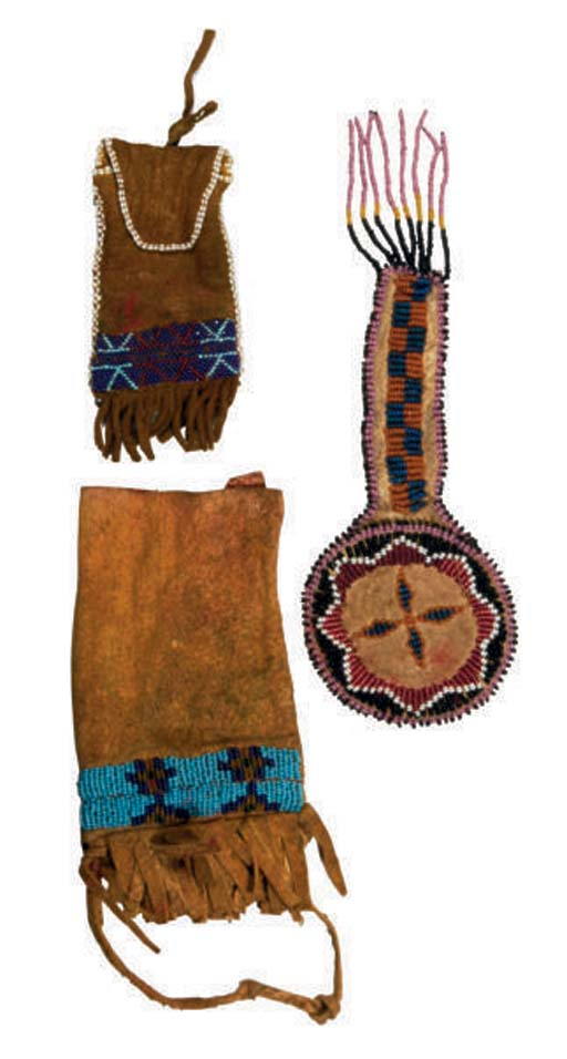 THREE PLAINS BEADED HIDE POUCH