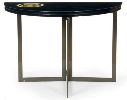 A BLACK LACQUER DEMILUNE TABLE
