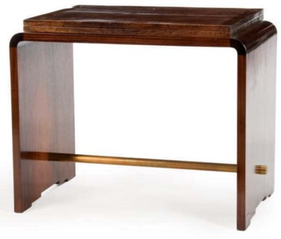 AN ART DECO MAHOGANY, WALNUT B
