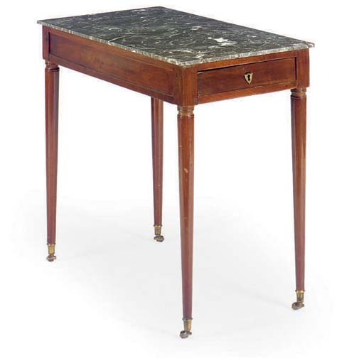 A FRENCH MAHOGANY MARBLE TOP S