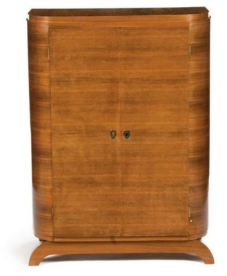 AN ART DECO FRUITWOOD AND PALI