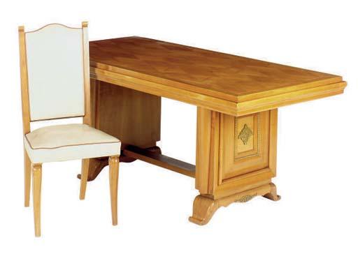 AN ART DECO DINING WALNUT TABL