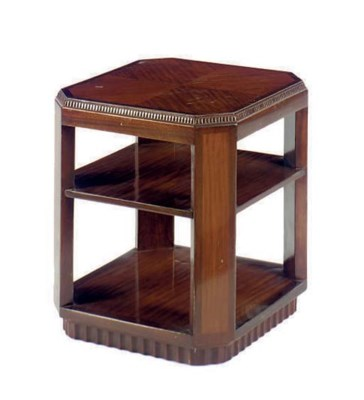 AN ART DECO MAHOGANY CUBE FORM
