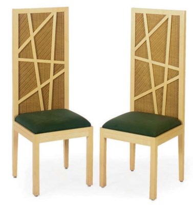 A SET OF FOUR LAMINATED WOOD H