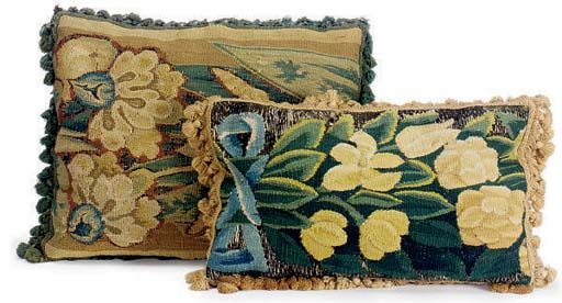 TWO VERDURE TAPESTRY CUSHIONS,