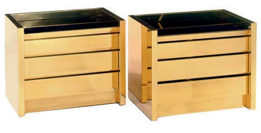 A PAIR OF POLISHED BRASS AND C