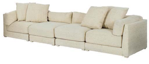 A FOUR PIECE BEIGE UPHOLSTERED