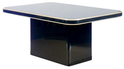 A BLACK LACQUERED AND PARCEL-