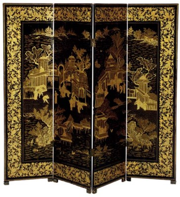 A CHINESE EXPORT FOUR PANEL FL