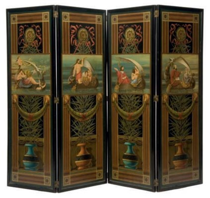 A FOUR PANEL PAINTED SCREEN,