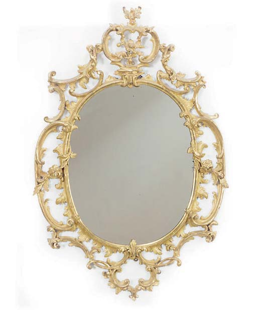 A GILTWOOD OVAL PIER GLASS,