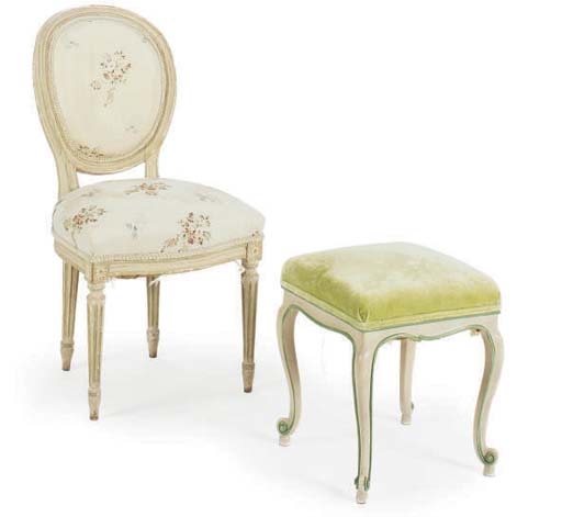 A FRENCH GREEN AND CREAM-PAINT