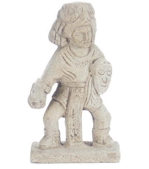 A CARVED STONE FIGURE OF A WAR