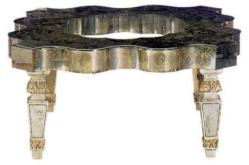 A MIRRORED AND GLASS TOP LOW T