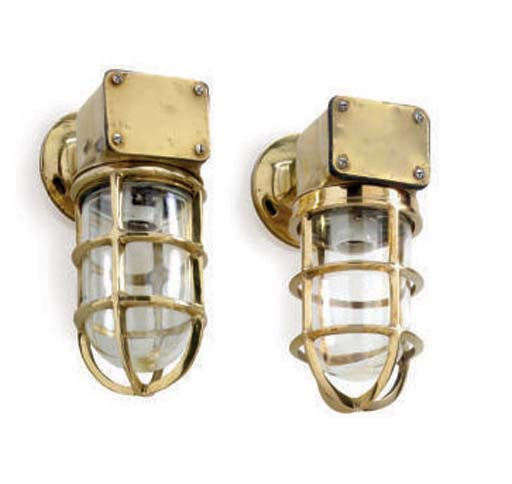 A pair of polished brass companionway lights