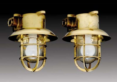 A pair of brass ceiling mounte
