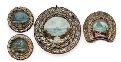 A group of four sovenir shell