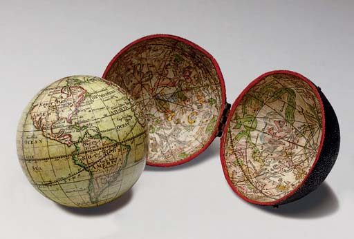 A mid-18th century pocket globe with fish skin case