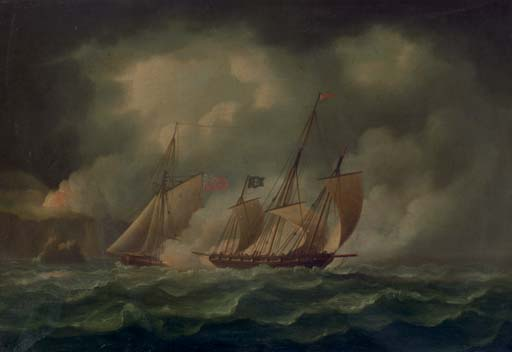 A revenue cutter chasing a pirate lugger