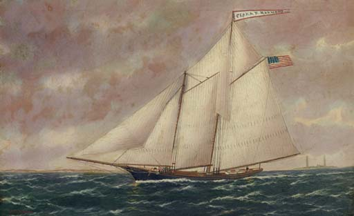 The racing schooner Clara R. Harwood off Cape Anne lighthouse