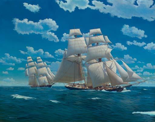 Brigs under full canvas in close quarters at sea