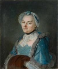 Portrait de femme en bleu au manchon