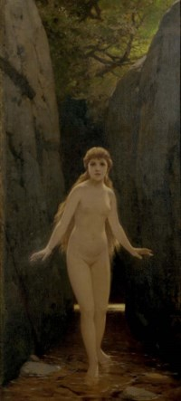 Nude nymph in a forest
