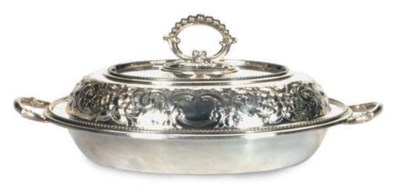 A SILVER-PLATED VEGETABLE DISH