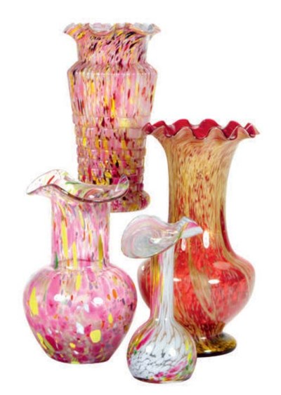 A GROUP OF TEN SPATTER GLASS V