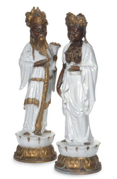 TWO EARTHENWARE MODELS OF A MA