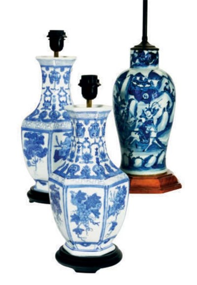 FOUR CHINESE BLUE AND WHITE HE