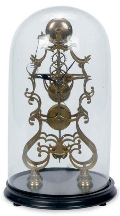 A BRASS SKELETON-FORM CLOCK WI