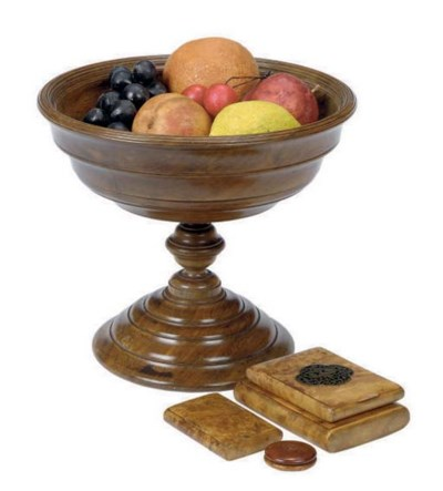 AN ENGLISH TREEN COMPOTE WITH
