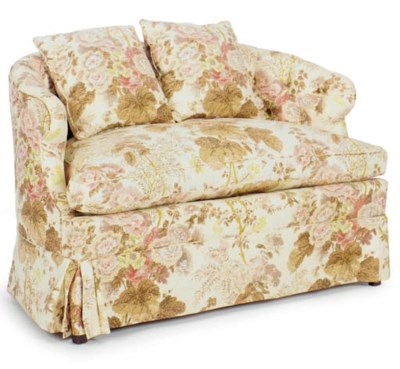 A PAIR OF BUTTON TUFTED CHINTZ