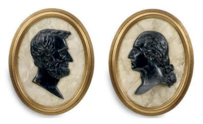 A PAIR OF PATINATED BRONZE AND