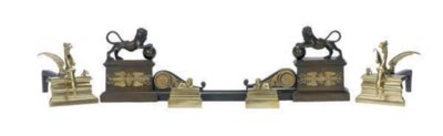 A PAIR OF BRASS ANDIRONS AND A