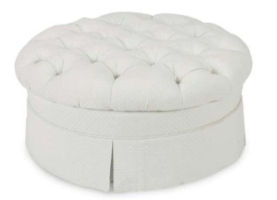 A BUTTON TUFTED CIRCULAR POOF,