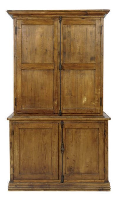 A STAINED PINE CABINET,