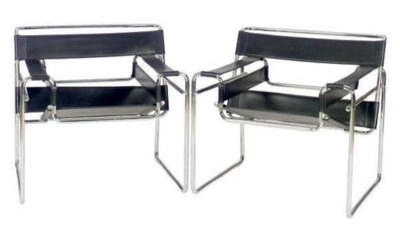 A PAIR OF CHROME AND BLACK LEA