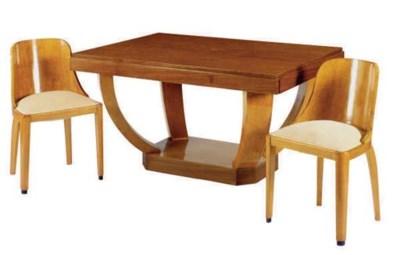 A WALNUT AND BIRCH DINING TABL