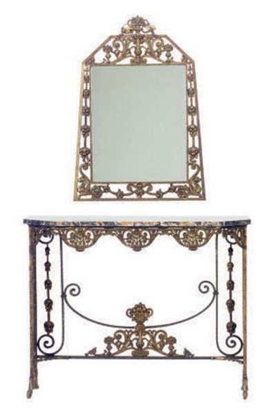 A GILT-BRONZE AND MARBLE TOP C